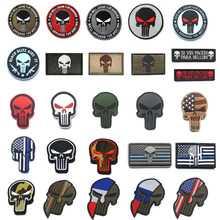 Punisher Skull Patches Embroidered 3D and Thin Blue Line PVC Rubber Noctilucent Tactical Military Clothes Badges with Hook&Loop
