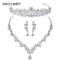 Mecresh Luxury Cubic Zirconia Bridal Jewelry Sets Leaf Shape Crystal Wedding Necklace Earrings Tiara Sets Jewelry