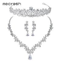 Mecresh Luxury Cubic Zirconia Bridal Jewelry Sets Leaf Shape Crystal Wedding Necklace Earrings Tiara Sets Jewelry