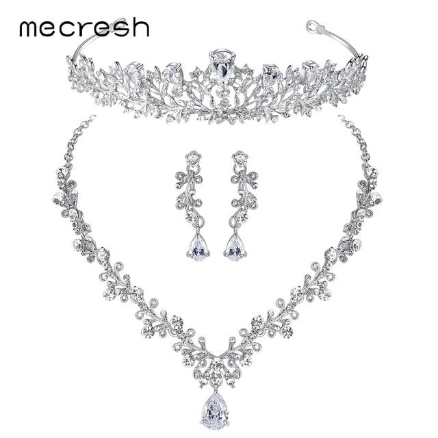 Mecresh Luxury Cubic Zirconia Bridal Jewelry Sets Leaf Shape Crystal