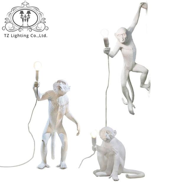 TZ Modern Creative Design Pendant lamp Resin Monkey Loft Vintage Hemp Rope Pendante Light for Home Bar Cafe  Hanging Suspension
