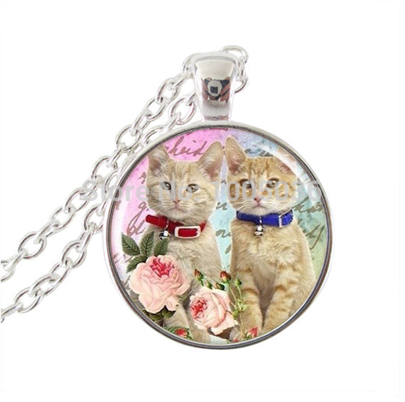 Art Kitty pendant cat necklace jewelry cat collar necklace cat jewerly silver chain necklace round glass dome necklace women