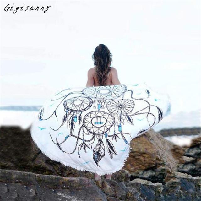 Dreamcatcher Impresso Mulheres Praia Cover Up Bikini Boho Vestido de Maiô Swimwear Toalha de Praia Frete Grátis, Jan 17