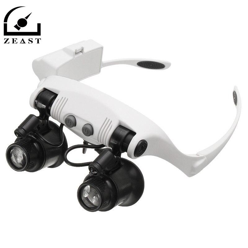 10X 15X 20X 25X LED Lupe Doppel Auge Brille Lupe Objektiv Juwelier Uhr Reparatur Messung mit 8 Objektiv LED lampe