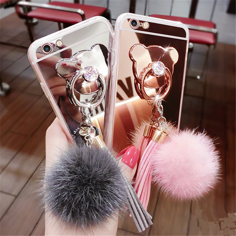 For Samsung S3 S4 S5 S6 S7 edge Plus Note 3 4 5 S8 Luxury Fur ball Tassels Mirror cover Bear finger ring Soft Phone case