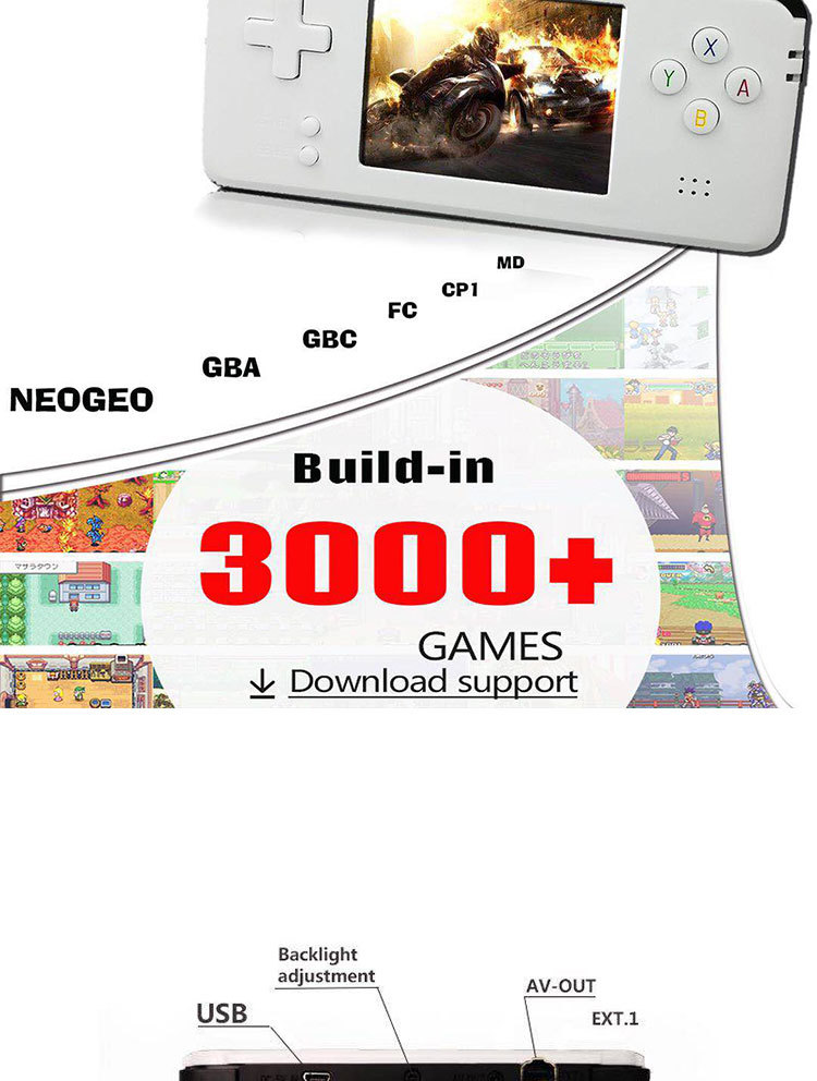 Retro Video Game Console 64 Bit 16G Memory Portable Mini Handheld Game Players Built-in 3000 Classic Games Best Gift For Kids