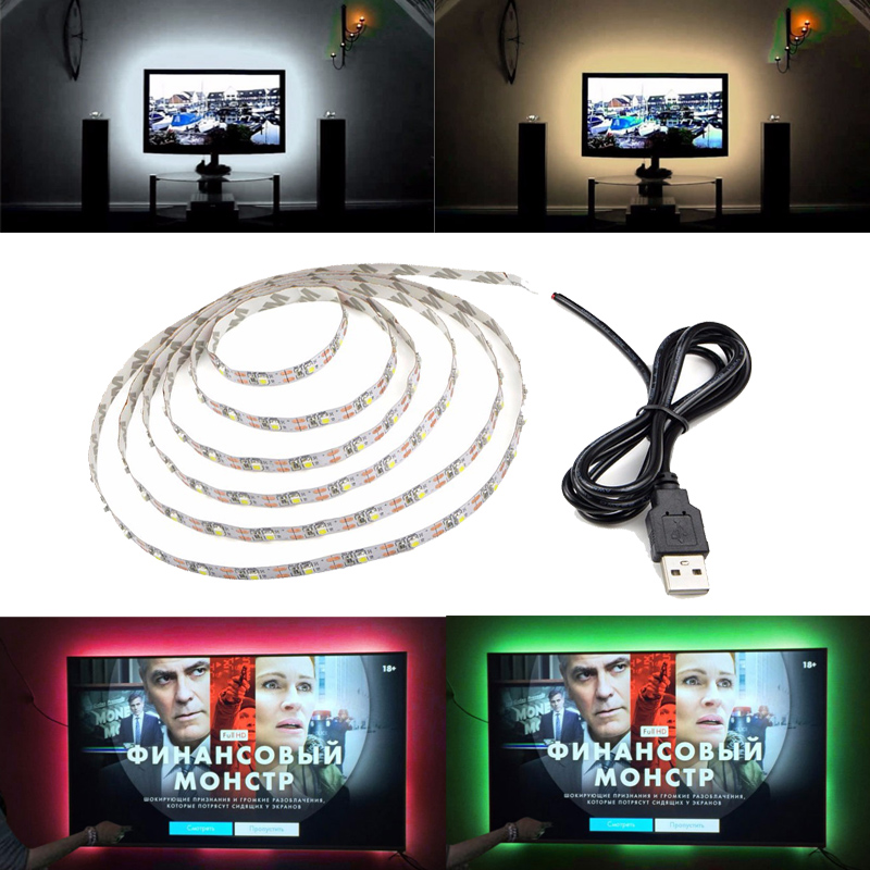 5V USB-kabel LED Strip Light Varm Vit Röd Blå Grön RGB LED TV Bakgrundsbelysning SMD 3528 Flex Ribbon Tape Stripe Lampa 1M