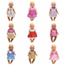 Fit 43cm Zapf Baby Doll Clothes Pink Handmade Suspender Skirt Clothes Dress Christmas Gift Doll Accessories