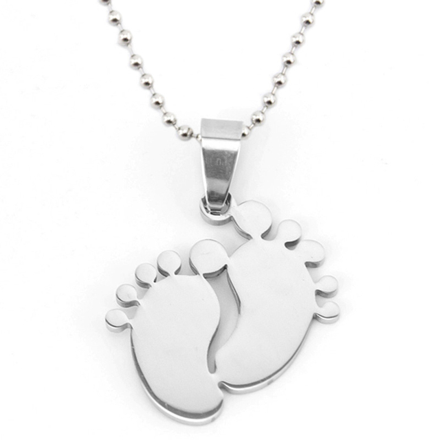 Baby Foot Toes Necklace Stainless Steel Charm Pendant Double Mirror Polish Jewelry Nice Gifts for Daughter/Son/Mom