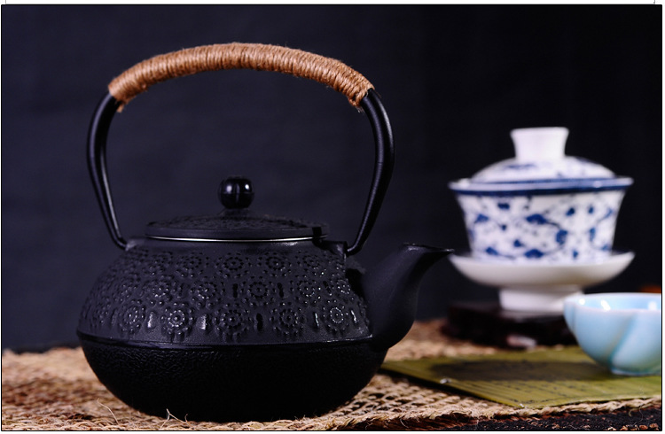 New 7 Chioces Cast Iron Teapot Set Japanese Tea Pot Tetsubin Kettle Enamel 900ml Kung Fu Infusers Metal Net Filter Cooking Tools 18
