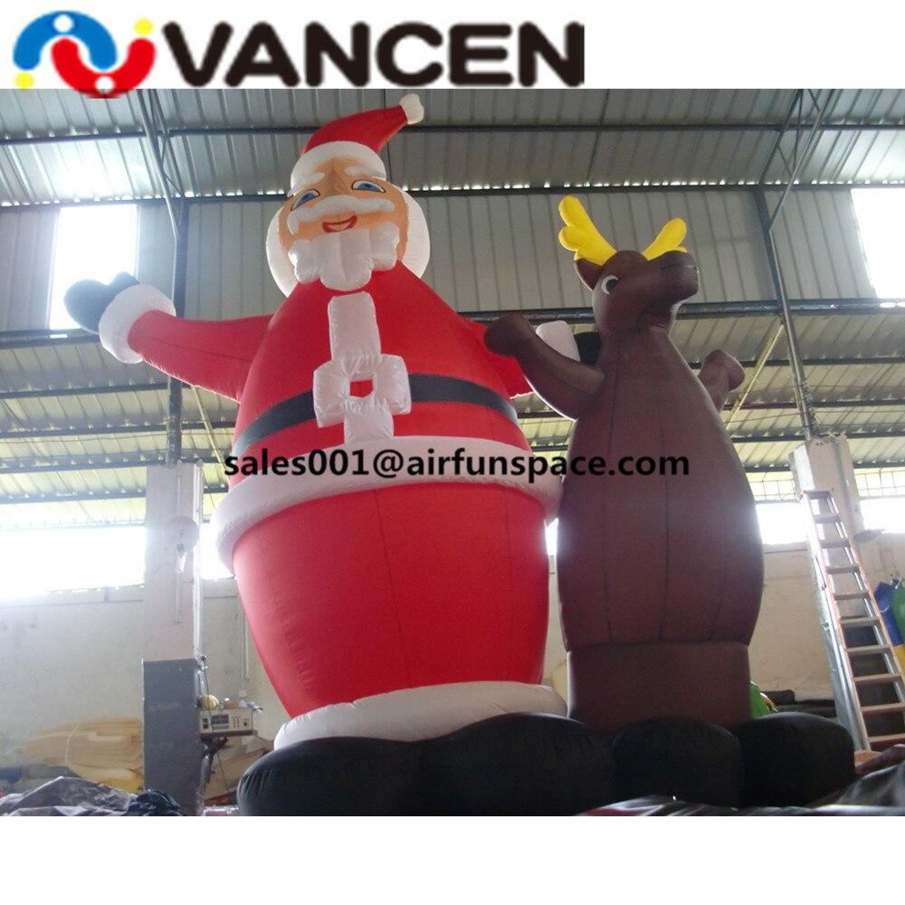 Feliz Navidad juguetes inflables 3mH santa claus inflable con ciervos decoración al aire libre ciervos inflables de Navidad - 5