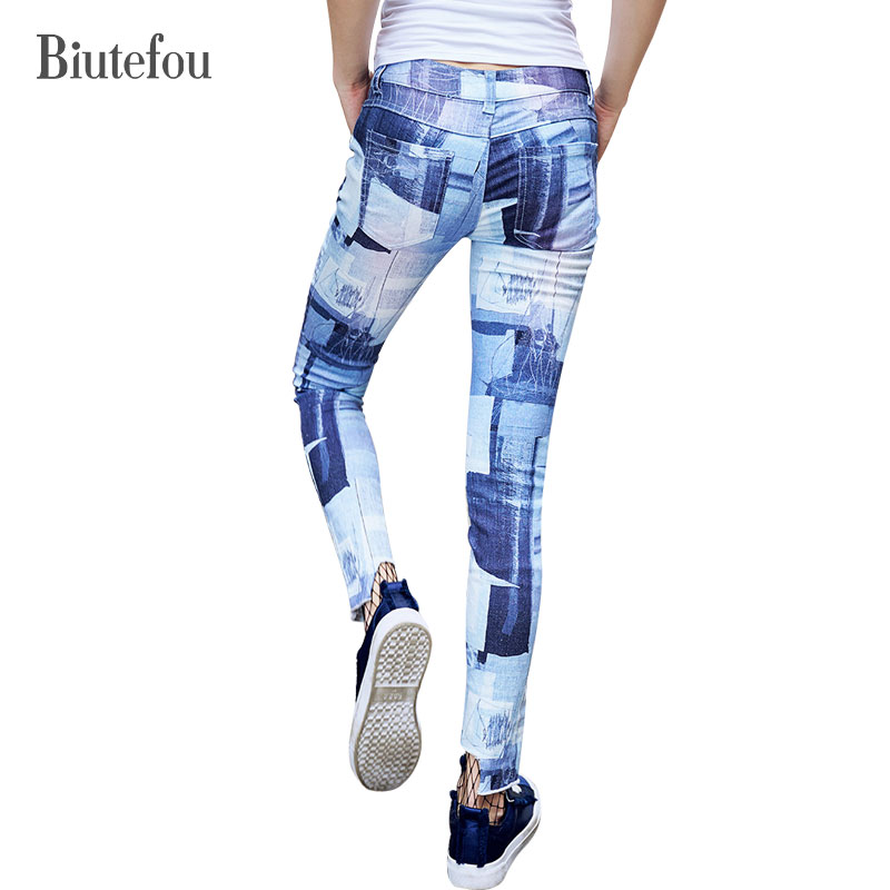 2017 New arrival autumn fashion Graffiti skinny Jeans women vintage high quality ankle-length pants Biutefou brand 2017 new arrival italy famous brand men s fashion jeans high quality size 30 40 blue vintage jeans pants