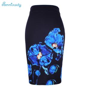 New arrival blue Flower print women pencil skirts lady midi saias female black faldas girls slim bottoms S-4XL free shipping