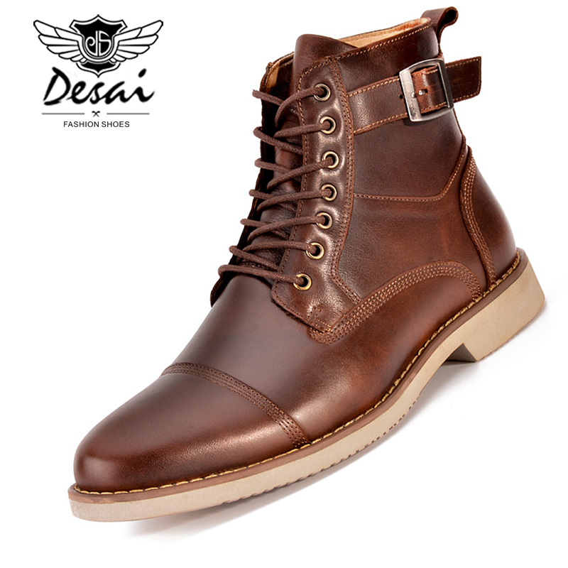 DESAI New High Quality High Boots Men Genuine Leather Lace Up High top Shoes Men s