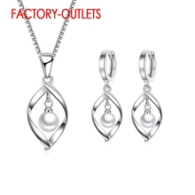 925 Sterling Silver Bridal Jewelry Sets Trendy Fashion Imitated Pearl  Women Girls Engagement Anniversary Wholesale