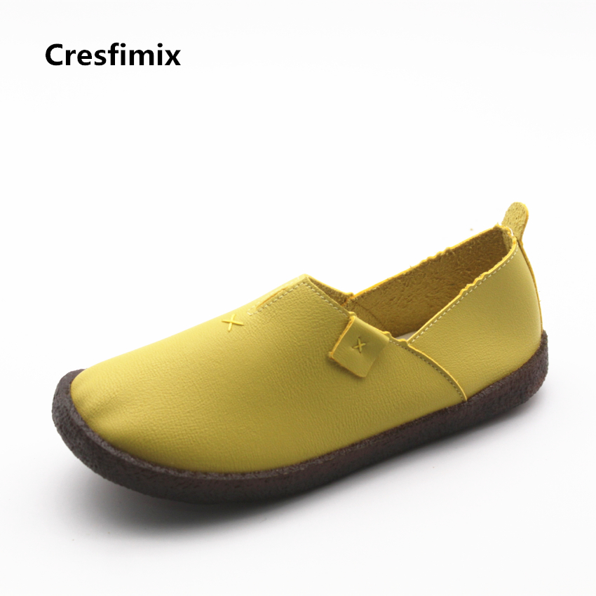 Cresfimix chaussures pour femmes women cute spring slip on flat shoes with rubber bottom lady casual comfortable street shoes cresfimix women cute spring