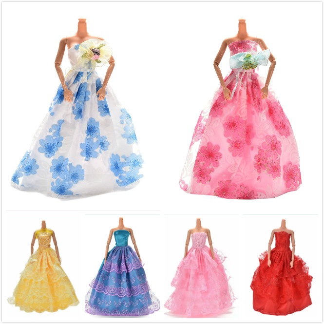 Elegant Lace Multi Layers Wedding Dress For Barbie Doll Luxury Floral Dolls Accessories Doll Dress Clothes Clothing one piece multi styles handmade for barbie dress fashion mini doll dress for barbie dolls party slim dress clothing accessories