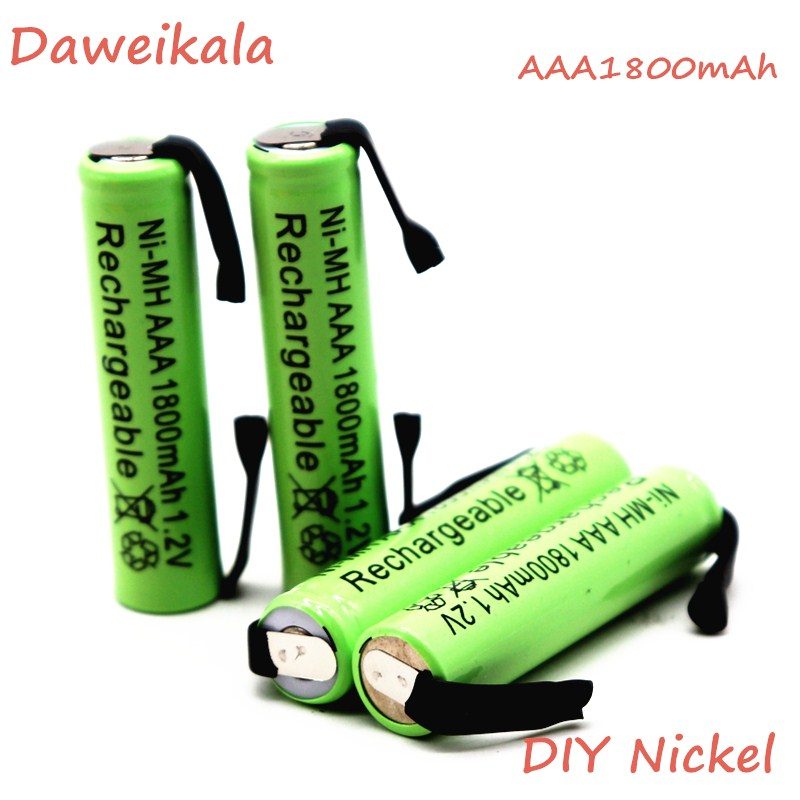 Daweikala Ni-Mh 1.2V AAA rechargeable battery cell 1800mah with welding tabs for Philips Braun electric shaver razor toothbrush image