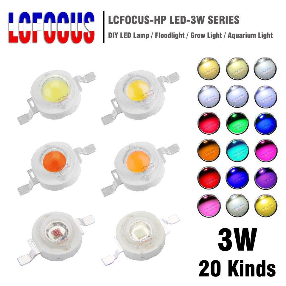 10 pièces haute puissance puce LED 3 W chaud blanc froid rouge bleu vert UVA spectre complet 660nm 440nm LED cultiver la lumière pour 3 watts perles de lumière
