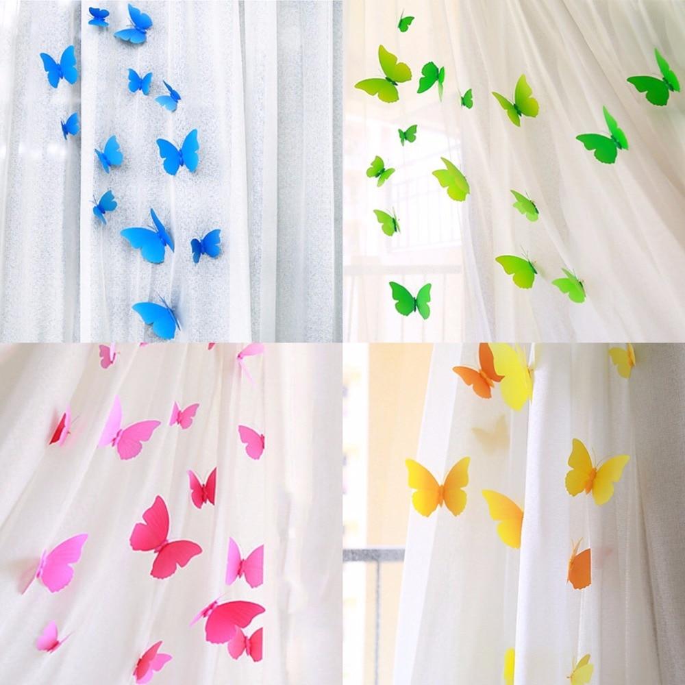 60 pcs Curtain Home Decor 3D Butterfly Shape Sticker Pin ...
