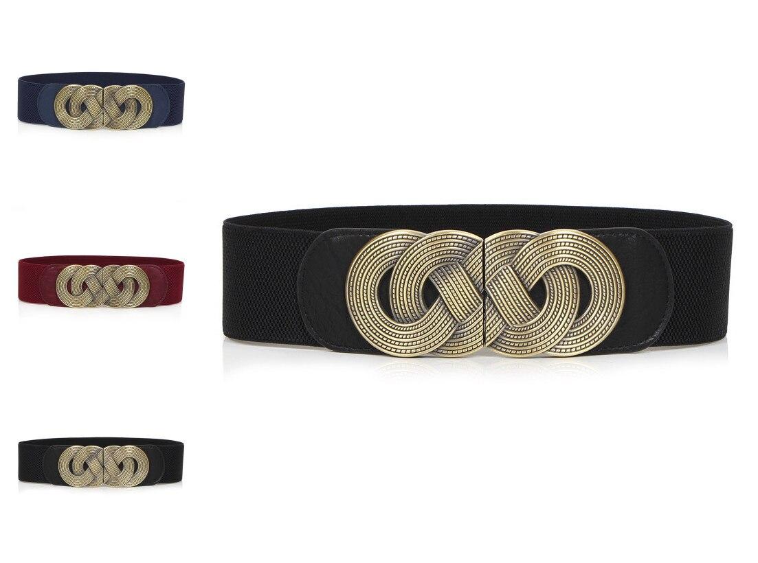 HOT Sale Elastic Cummerbunds Women Trendy Newest Gold Metal Big Cummerbund Black PU Leather Wide Waist Belts Ladies Punk