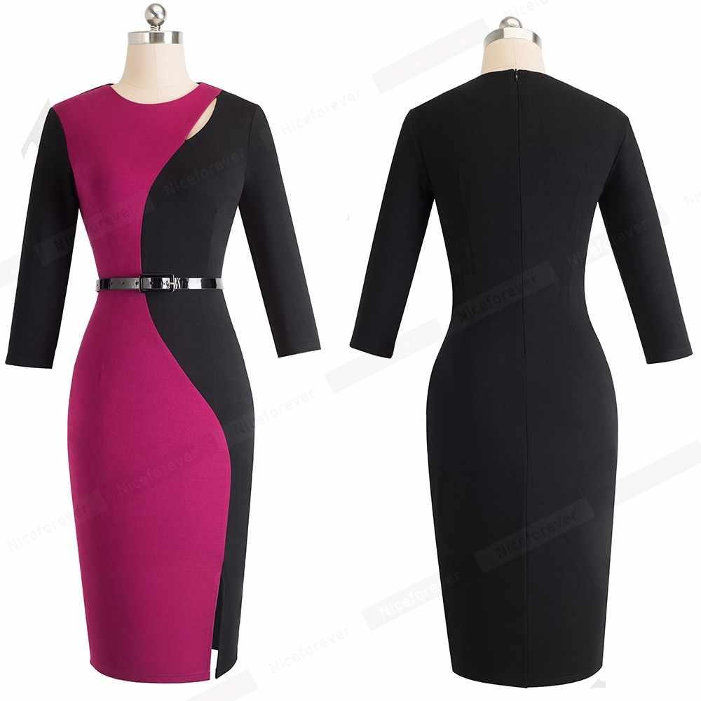 4094a712eb4fb Elegant Contrast Patchwork Ladies Work Office Side Split Dresses Women  Formal Bodycon Church Dress vestidos HB478