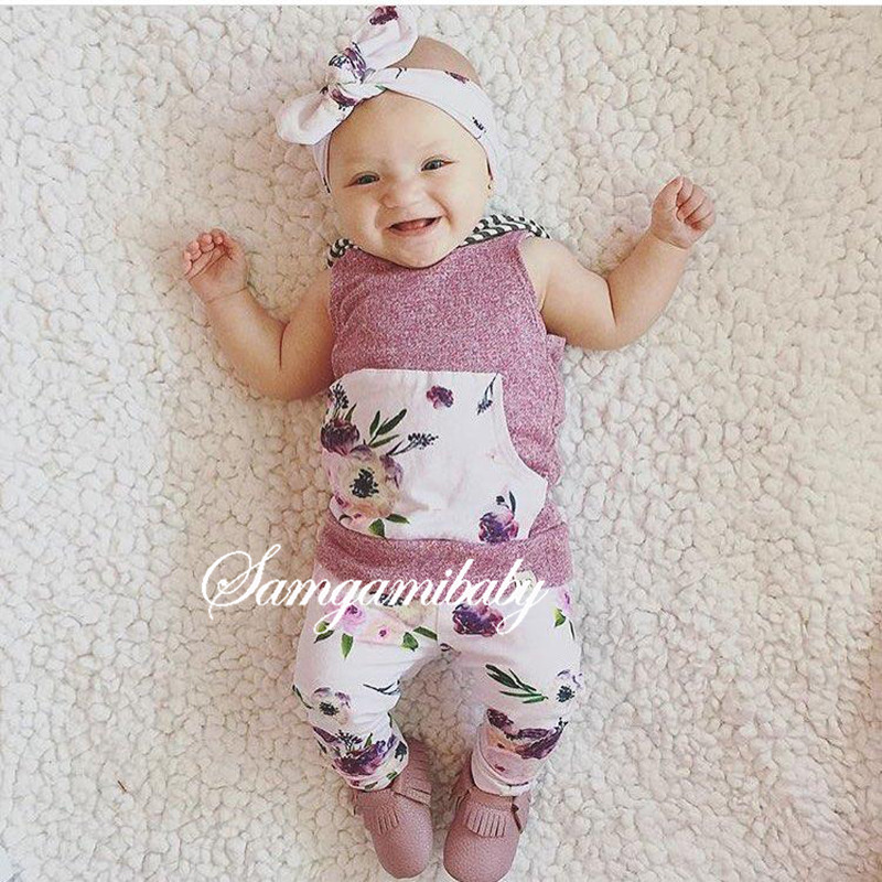 New 2017 Summer Baby girls 2pcs clothing set kids Girls Clothes sets Floral Hooded Tops+Long Pants Outfit Clothes Set Suit 4th of july baby girls clothing set summer girls tees ruffle short girls outfit american usa flag baby clothes 2pcs kids clothes