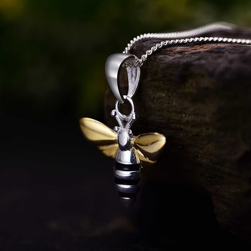 Lotus Menyenangkan Momen Nyata 925 Silver Fashion Perhiasan Indah Lebah Madu Liontin Tanpa Kalung Rantai untuk Wanita Dropshipping Wholesale