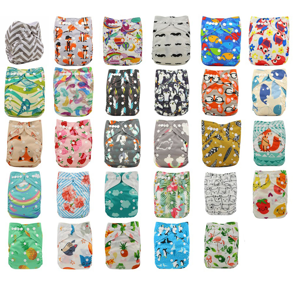 20 Pack Washable Baby Cloth Diaper Cover Pattern Printed Adjustable Soft Newborn Nappy Cover Reusable Cloth