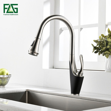 FLG Kitchen Faucets Single Handle Pull Out Kitchen Tap Single Hole Handle Swivel 360 Degree Water Mixer Tap Mixer Tap flg free shipping kitchen faucet white painting 360 degree rotating cold and hot single holder single hole water tap mixer c032w