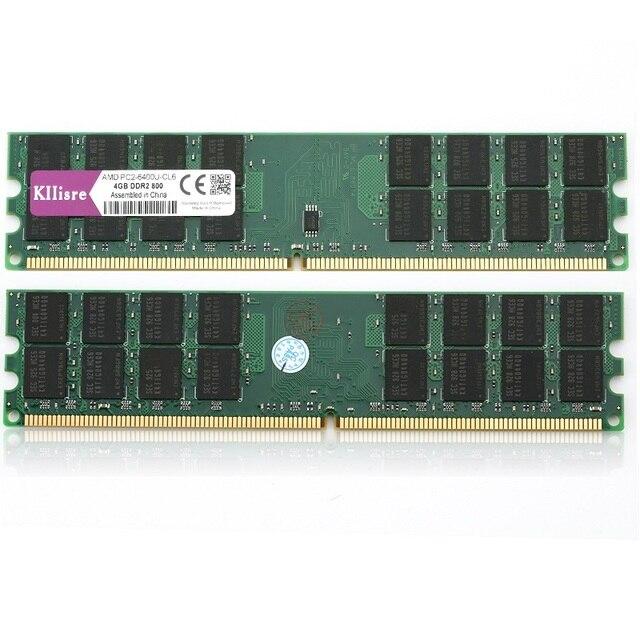 Kllisre 8 go DDR2 2X4 go de ram, 800 Mhz, PC2 6400 broches mémoire, juste pour ordinateur de bureau AMD dimm