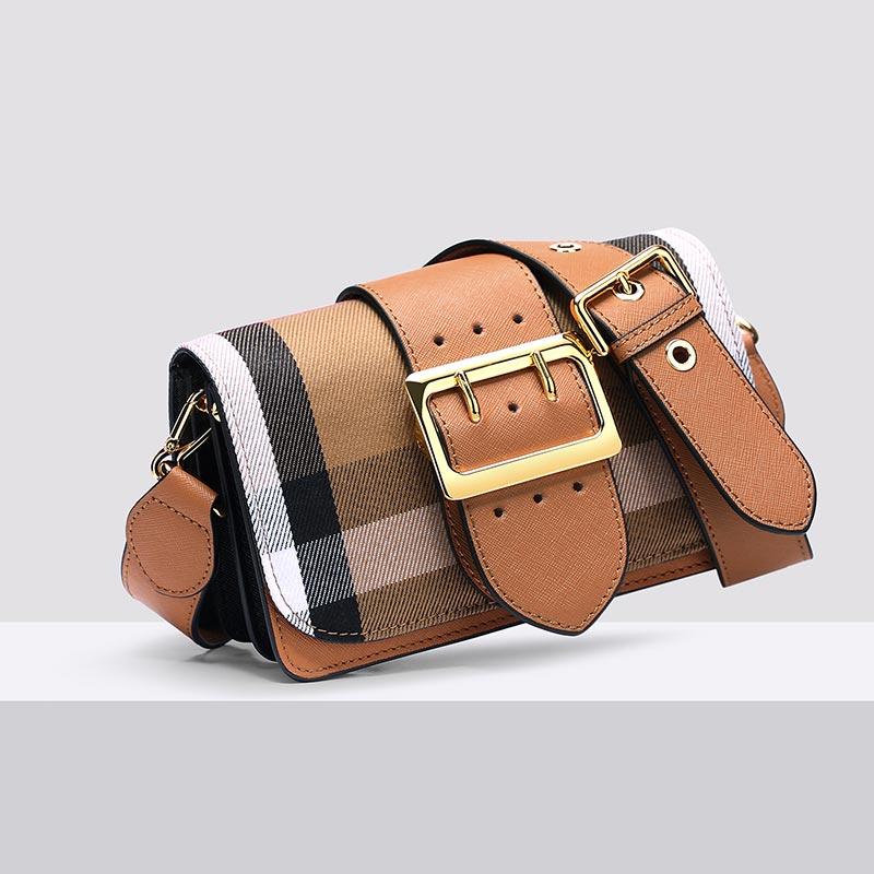 Female Luxury Shoulder Bag Crossbody Handbag Genuine Leather Bag Fashion Sling Bag Casual Satchel British Lattice Messenger Bag