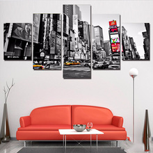 Купить с кэшбэком Abstract Photo Wall Modular Pictures For Living Room Decor 5 Panel New York Lego City HD Printed Poster Canvas Painting