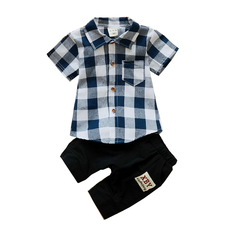 Boys Clothes 2018 New Fashion Gentleman Children Clothing Set Classic Plaid Shirts Shorts Summer Kids Suits Toddler Costume summer boys handsome gentleman suits 2018 summer new baby boy clothes set 1 3 years striped summer children clothing