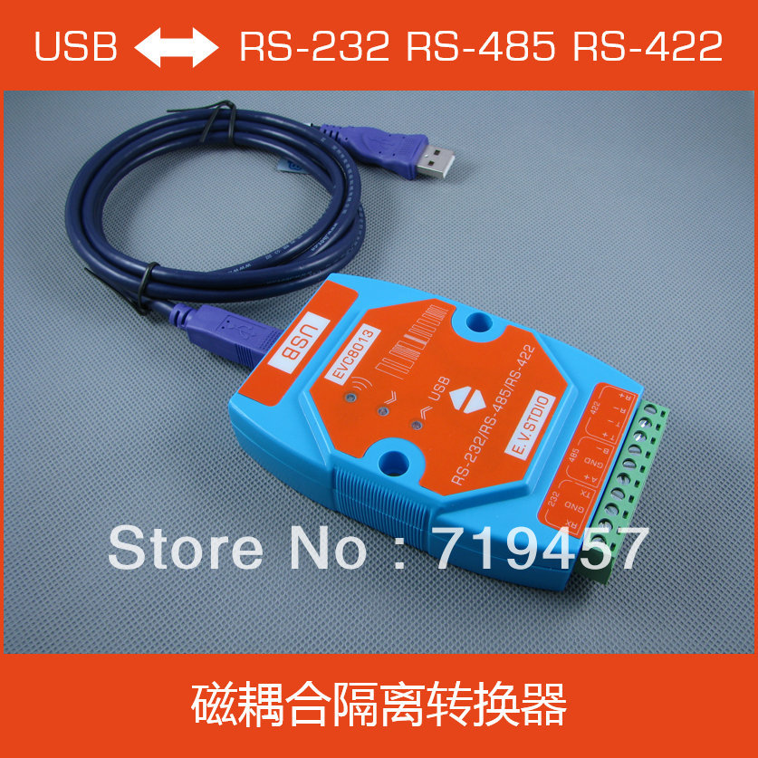 FREE SHIPPING Evc8013 Usb To Serial Isolation Converter Rs-232 Rs-485 Rs-422 Magnetic Isolation