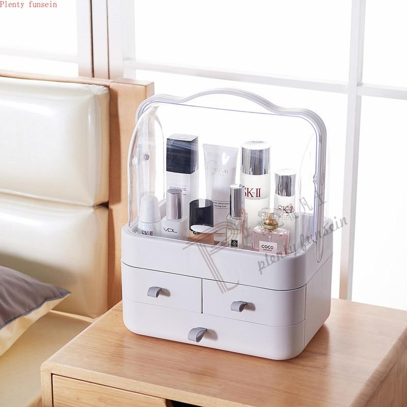 Grande capacité boîte de rangement maquillage conteneur organisateur lumière Portable magasin bijoux cosmétique en plastique étanche à la poussière tiroir étanche