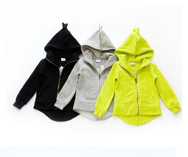 Crianças hoodies outono inverno meninos meninas Dinossauro jaquetas grosso com capuz de lã camisola outerwear