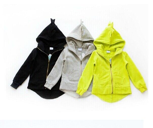 children hoodies autumn winter girls boys Dinosaur jackets thick with fleece hood sweatshirt outerwear