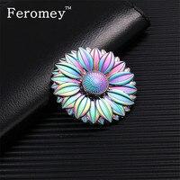 Multicolor Metal Hand Spinner Rainbow Flower Finger Spiner Stress Relief Toys Metal Fidget Spinner