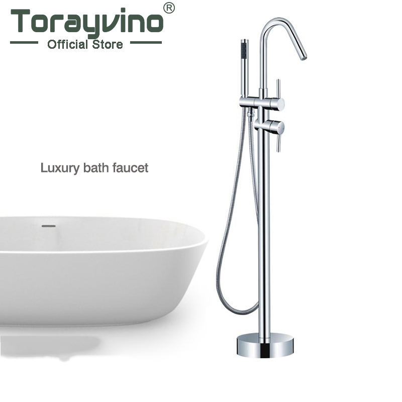 Good Quality WELS and CUPC Bathroom Floor Standing Bath Tub Faucet Mixer Set & Hand Held Shower Spray Polished Chrome