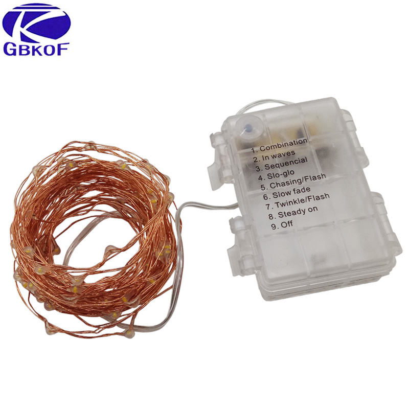 GBKOF 5M 50 LED 3XAA Battery Operated LED String Lights for Xmas Garland Party Wedding Decoration Christmas Flasher Fairy Lights