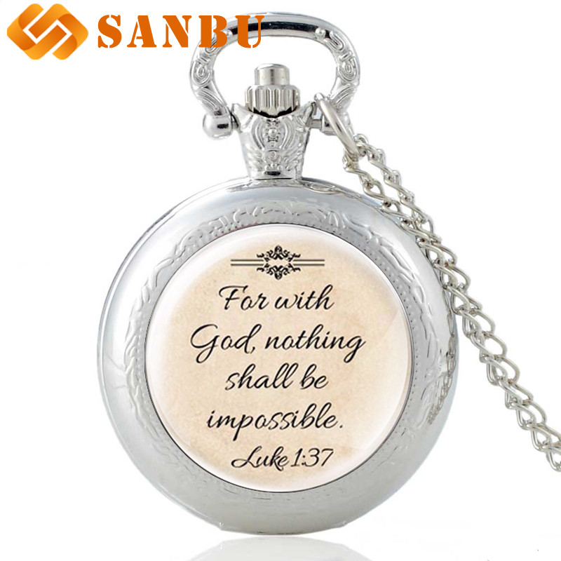 Newest Design Jesus Necklace 'Faith With God Nothing Is Impossible' Words Pendant Quote Jewelry Necklaces Quartz Pocket Watch