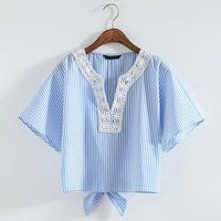 Stripe Lace Women T Shirt V Neck Short Sleeve Light Blue Girls Tops Clothing Female Tees