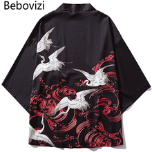Bebovizi Japan Style Crane Printed Black Thin Kimono Men Japanese Streetwear Vintage Cardigan Jackets Casual Outerwear 2019