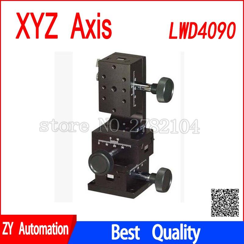 Eixo XYZ guia tipo cauda de andorinha sulco LWD4090 plataforma engrenagem knob deslocamento manual ajuste de slides