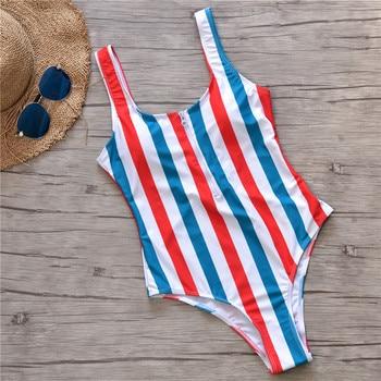 2019 New Red White Blue Striped Swimwear One Piece Swimsuit Women Zipper Monokini Swimsuit Sport Bodysuit Beach Bathing Suit