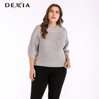 DEXIA Autumn Big Size Solid Sweater Women Round Neck Three Quarter Sleeve Knitted Pullover Female Elegant Grey Party Sweater