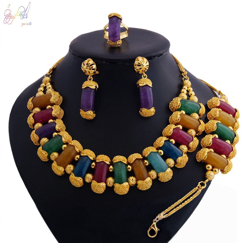 YULAILI Natural Stone Jewelry Sets Nigerian Wedding African Beads Pure Gold Color Necklaces Accessories for Women natural stone beads necklaces rope necklaces freeform large beads necklace fashion jewelry for party women gift