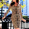 HEGO 2015 Kim Style Knitted Elasticity Leopard Red Black Solid Color Long Sleeve Bandage Dress H950