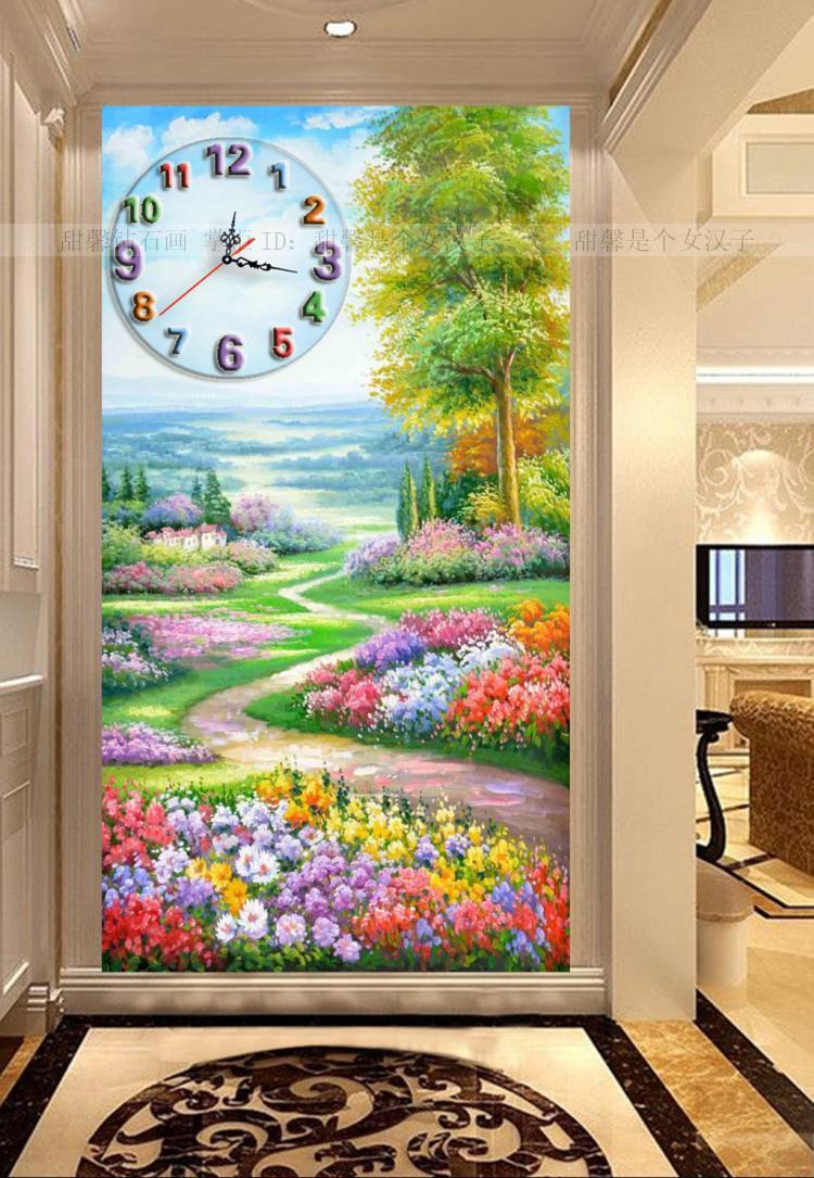 The Corridor Diamond Full Square Drill Cross-stitch Clock Porch Flowers Path Scenic Diamond Mosaic Painting Wall Clocks